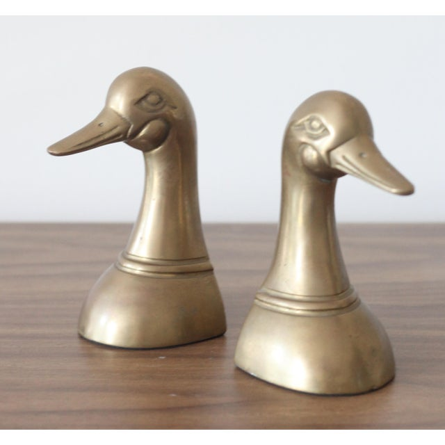 Image of Brass Duck Head Bookends - Pair