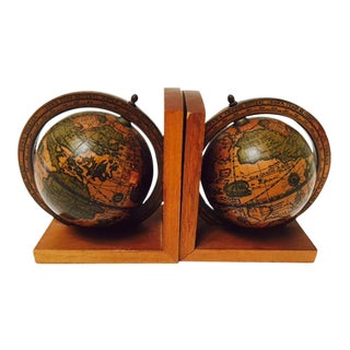 Italian Old World Globe Bookends - A Pair
