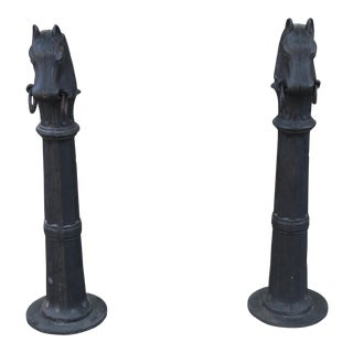 Vintage Cast Iron Horse Head Stands - a Pair