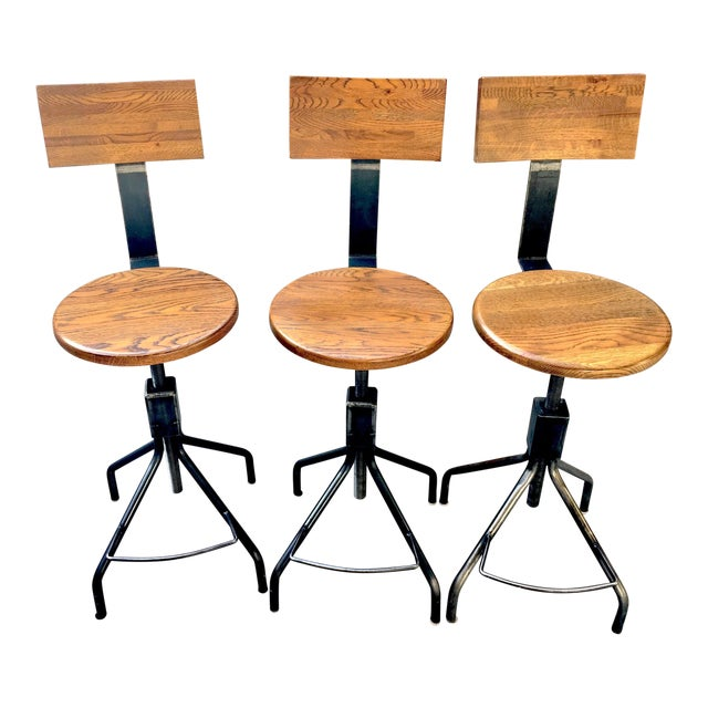 Image of Rejuvenation Industrial Adjustable Stools - Set of 3