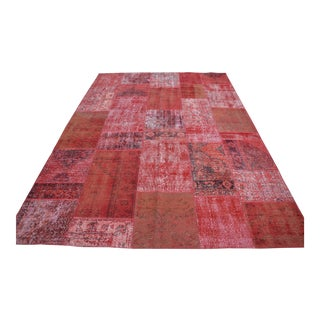 Red Turkish Vintage Overdyed Rug - 7′ × 9′11″