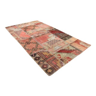 Turkish Vintage Overdyed Patchwork Oushak Rug - 3′10″ × 7′1″