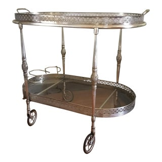 Silver Two-Tiered Bar Cart