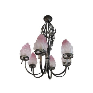 French Art Nouveau Iron Chandelier