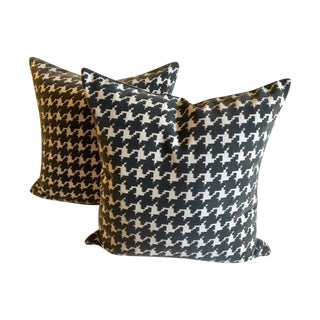 Raised Gray Velvet Houndstooth Pillows - Pair