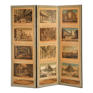 French Directoire Style Folding Screen with European Architectural Scenes