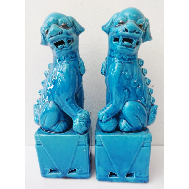Turquoise Porcelain Foo Dogs - A Pair - Image 2 of 7