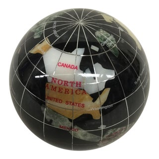 Vintage Stone World Globe Paperweight