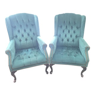 Victorian Queen Anne Velvet Chairs - A Pair