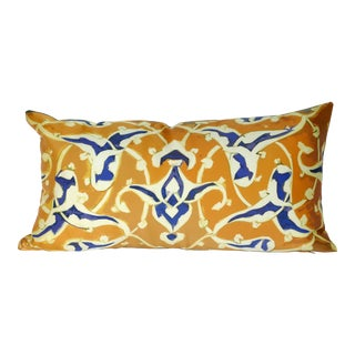 Tiles I Gold & Blue Silk Pillow