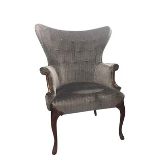 Gray Velvet Wingback Chair