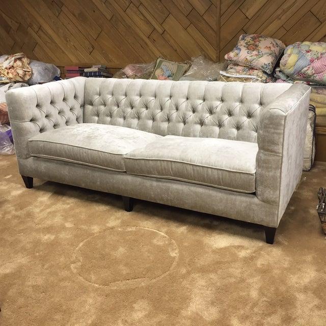 Grey Velvet Tuxedo Sofa - Image 3 of 6