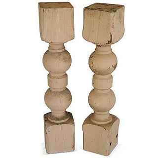 Large 1940s Carved Wood Corbel Columns - A Pair