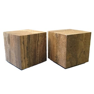 Modernist Stone Cube End Tables - Pair
