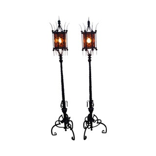 Antique Wrought Iron Torchier Floor Lamps - A Pair