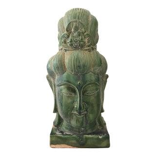 Chinese Jade Majolica Quan Yin Head