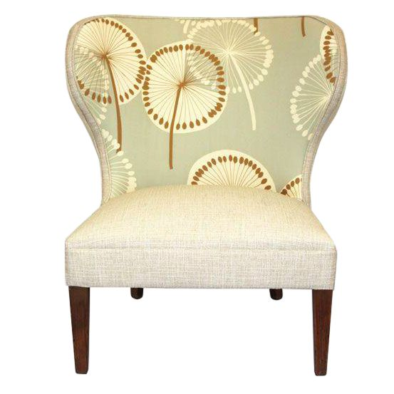 Image of Antique Slipper Chair in Dandelion Upholstery