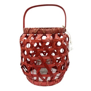 Red Rattan Lantern Candle Holder