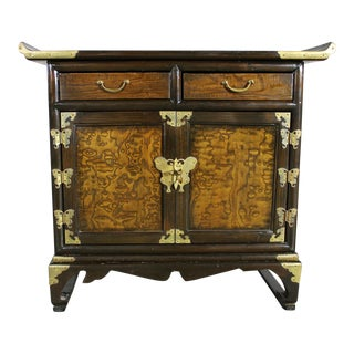 Vintage Korean Design Brass Butterfly Asian Accent Scholar's Cabinet
