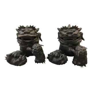 Vintage Bronze Foo Dogs Lions With Babies - A Pair