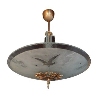 Glössner Swedish Art Deco Etched Eagle Fixture