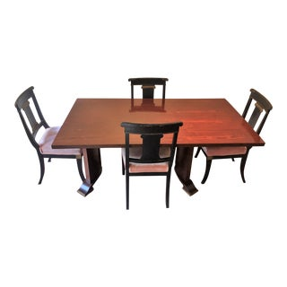 Jules Leleu Neoclassical Dining Table & 4 Chairs