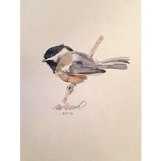 Contemporary Chickadee Watercolor Painting