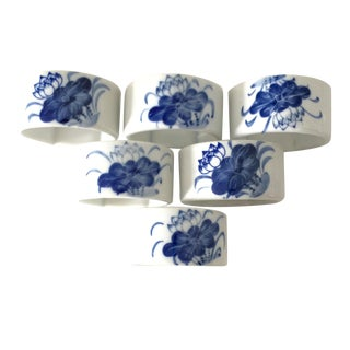 Blue and White Napkin Rings - Set of 6
