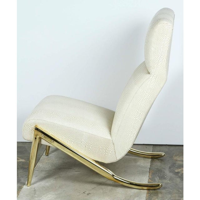 Paul Marra Slipper Chair in Brass with Faux Python - Image 3 of 10