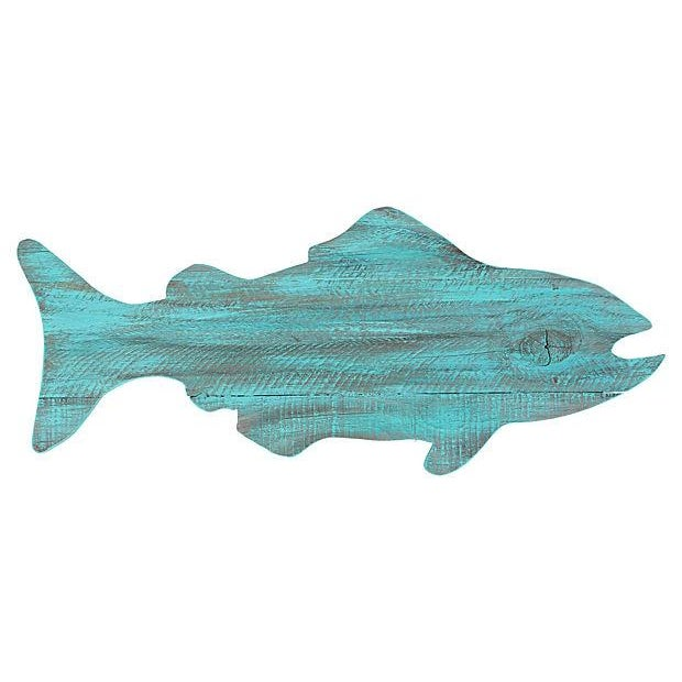 Turquoise Painted Reclaimed Wood Fish Cutout - Image 1 of 4