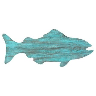 Turquoise Painted Reclaimed Wood Fish Cutout