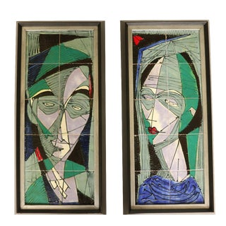 Harris Strong Abstract Tile Portraits - A Pair