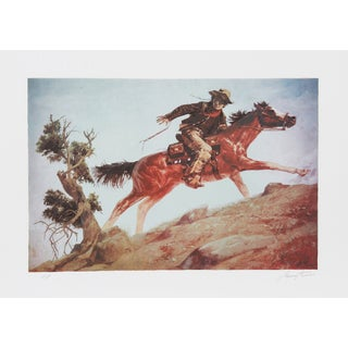 """Shannon Stirnweis, """"Cowboy and Horse,"""" Lithograph"""