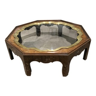 Baker Painted Brass Glass & Wood Coffee Table