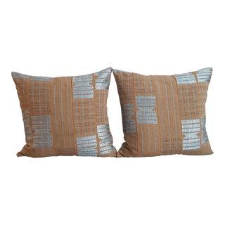African Blue & Tan Mud Cloth Pillows - A Pair