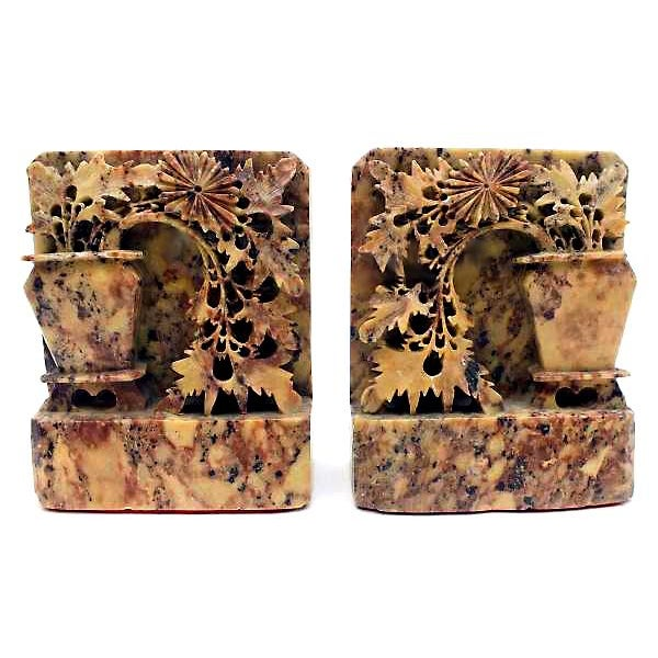 Image of Vintage Art Deco Chinese Soapstone Bookends - Pair