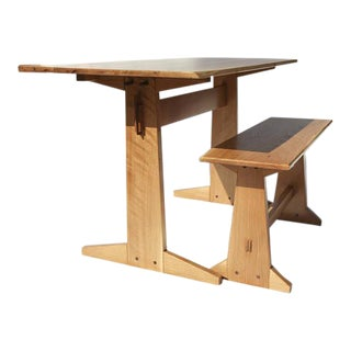 Japanese Style Trestle Table & Bench - A Pair