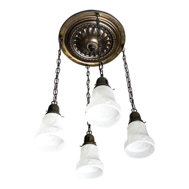 Embossed Flush Mount Light Fixture (4-Light) - Image 1 of 7