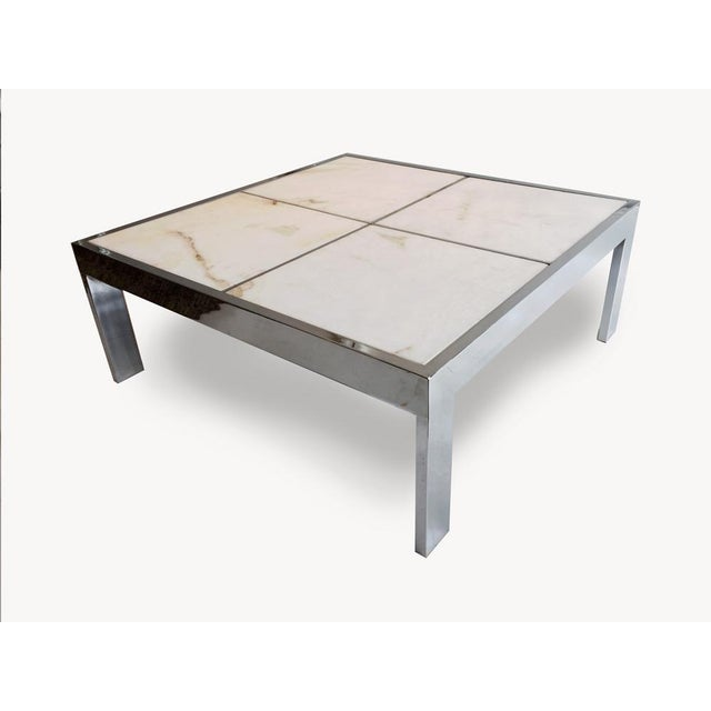 Pace Chrome & Marble Coffee Table - Image 2 of 4