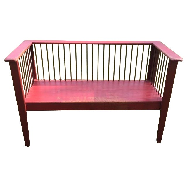 Spindle-Back Red Bench - Image 1 of 11