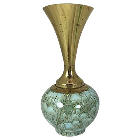 Hand Painted Turquoise Delft & Brass Vase - Image 1 of 5