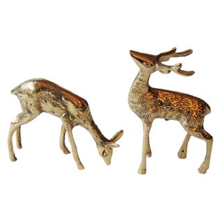 Brass Buck & Doe Figurines - a Pair
