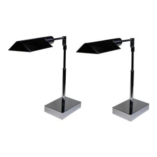 Nickel-Plated Phoenix Day Telescoping Table Lamps - A Pair