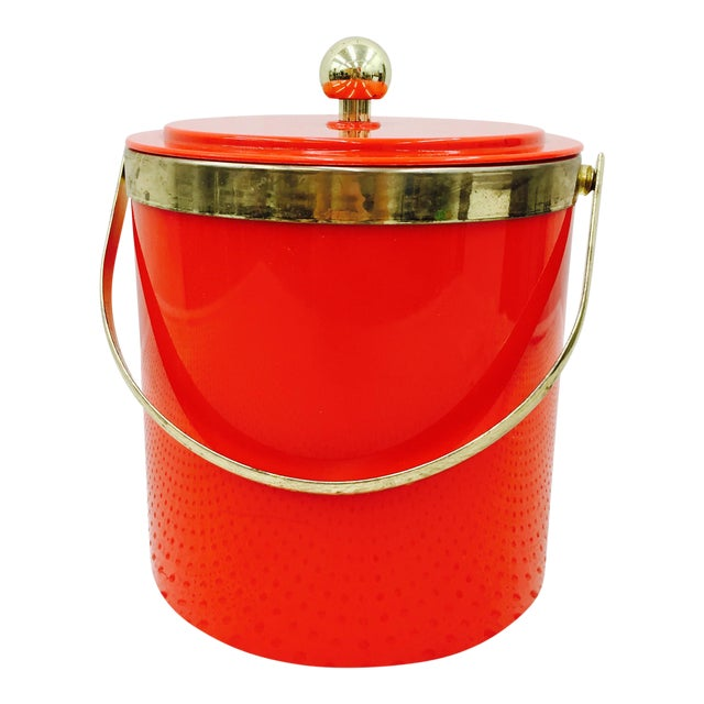 Vintage Red & Gold Ice Bucket - Image 1 of 10