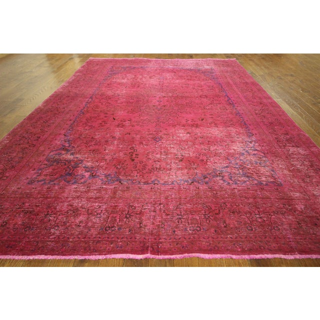 Pink Floral Overdyed Oriental Area Rug - 9' x 12' - Image 3 of 10