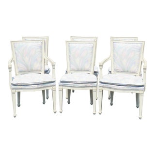 Distressed Cream Painted Dining Chairs - Set of 6