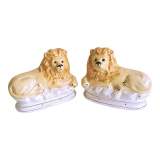 Staffordshire Style Ceramic Lions - A Pair