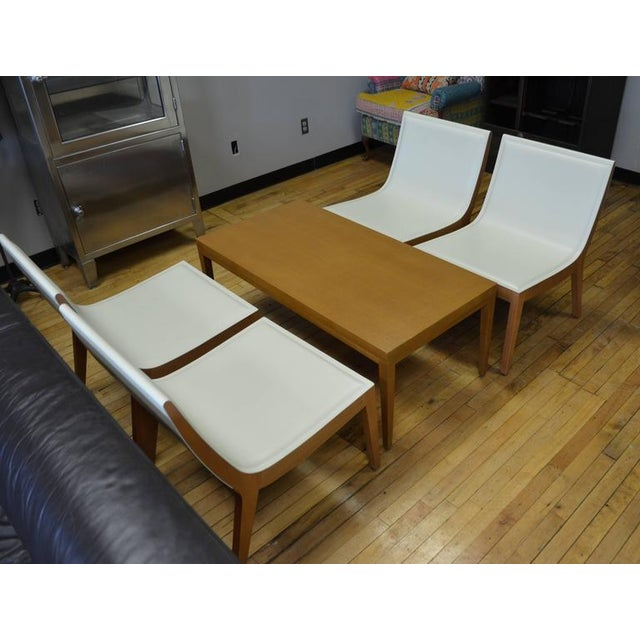 White Italian Leather Chairs & Maple Coffee Table - Set of 5 - Image 2 of 10