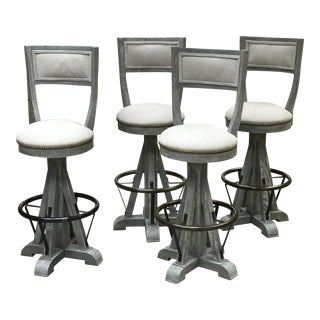 Custom Leather & Oak Barstool - Set of 4