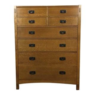 Carved Oak 8-Drawer Dovetail Dresser